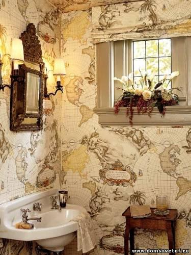 отделка стен ванной обоями
