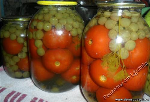 Помидоры с виноградом. Консервированные помидоры