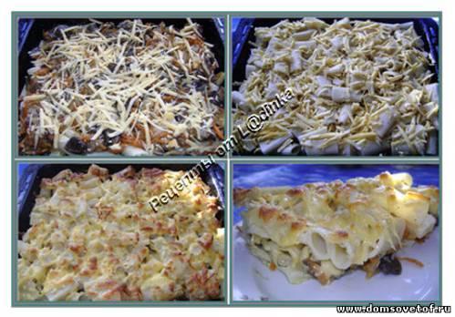 Рецепт запеканки из макарон с грибами