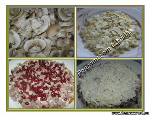 Салат с языком и грибами. Рецепт с фото