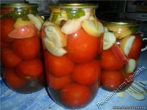 Помидоры с яблоками. Консервированные помидоры