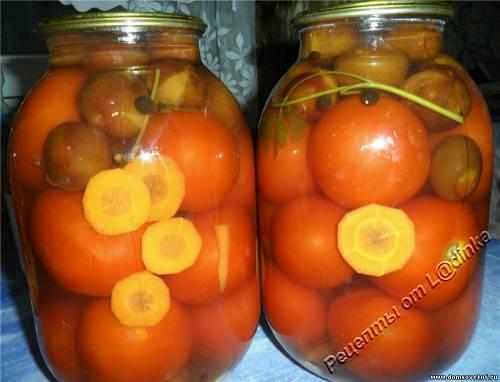 Помидоры со сливами. Консервированные помидоры