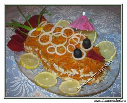 Салат с рыбой. Салат в виде рыбы