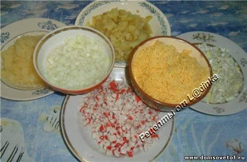 Салат с ананасом и крабовыми палочками.Салат без мяса. Рецепт салата на день рождение