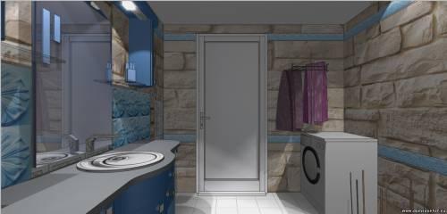 Фотография 2.Дизайн проект ванной комнаты из камня