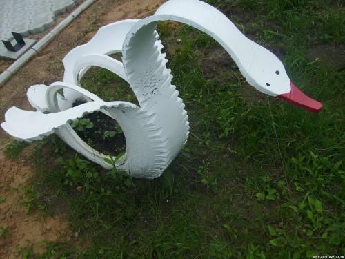 Лебедь из автомобильной шины