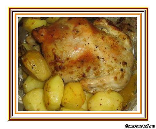 курица,запеченая в духовке на ужин