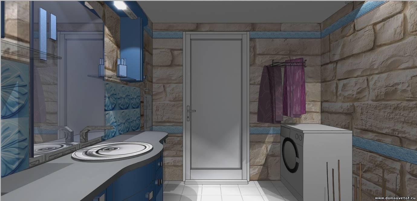 интерьер ванной комнаты. Дизайн проект ванной из камня