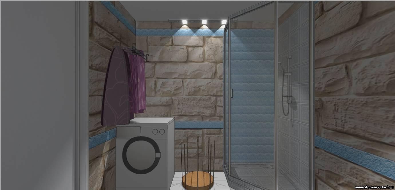готовый дизайн проект ванной комнаты из камня