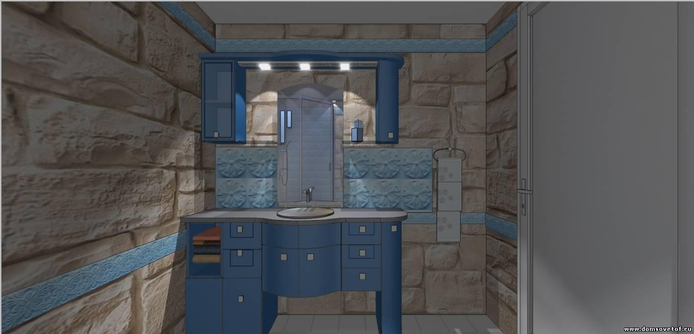 ентрьер ванной комнаты, готовый дизайн ванной