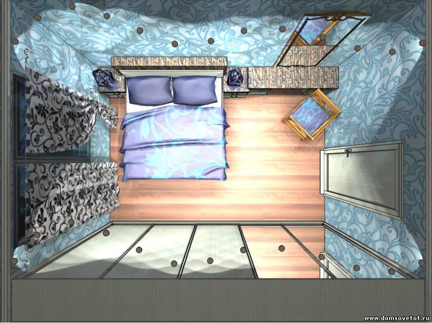 Планировка мебели в спальне