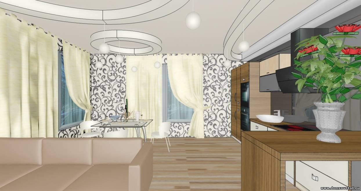дизайн кухни-гостиной-столовой