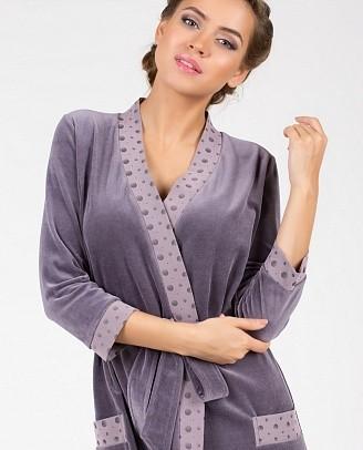 модный стильный велюровый халат оптом