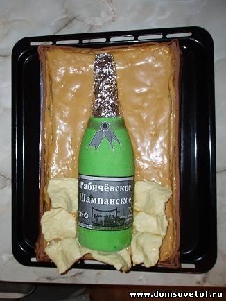"""Оригинальный праздничный торт """"Бутылка шампанского"""", пошаговый рецепт с фото"""