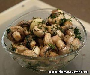 рецепты новогоднего меню -маринованные грибочки