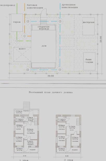 планровка дачного участка и поэтажный план небольшого двухэтажного дома